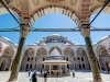 The inner courtyard of the Fatih Mosque (Conqueror's Mosque) in Istanbul, Turkey