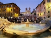 BAY6AH Spanish Steps with fountain and people at night, Rome, Italy